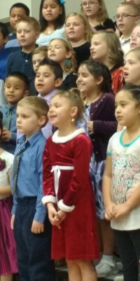 Children singing in choir for Christmas Concert