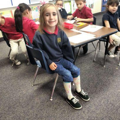 Kindergartener with Crazy Socks